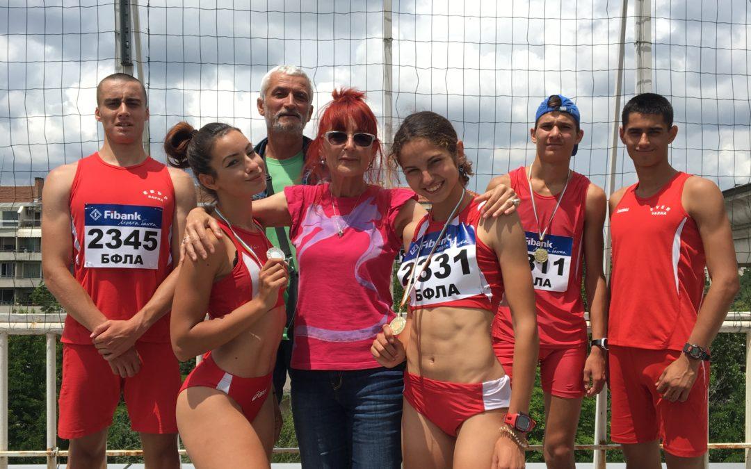 """Четири златни и един сребърен медал за СКЛА """"ЕВЪР"""" от националния шампионат по Лека атлетика за юноши и девойки до 20 години."""